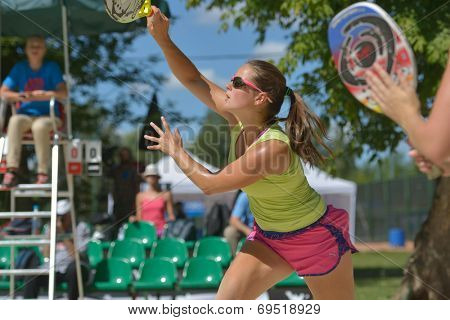 MOSCOW, RUSSIA - JULY 20, 2014: Dorothee Berreth of Germany in the match for 3rd place against Russia during ITF Beach Tennis World Team Championship. Russia won 3-0