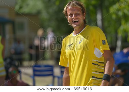 MOSCOW, RUSSIA - JULY 20, 2014: Vinicius Font of Brazil before the final match against Italy during ITF Beach Tennis World Team Championship. Italy won 2-0