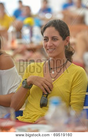 MOSCOW, RUSSIA - JULY 17, 2014: Joana Corez of Brazil on the party in honor of the opening of Beach Tennis World Team Championship. Cortez is No 1 in the world rankings