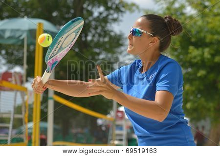 MOSCOW, RUSSIA - JULY 18, 2014: Federica Bacchetta of Italy in the match against France during ITF Beach Tennis World Team Championship. Italy won 2-0