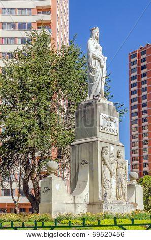 LA PAZ, BOLIVIA, MAY 8, 2014 - monument of Isabel la Catolica (Isabella I of Castile)