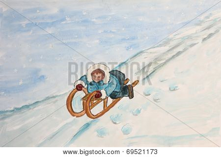 Sledding Child On A Snowy Slope, Children Watercolor Painting
