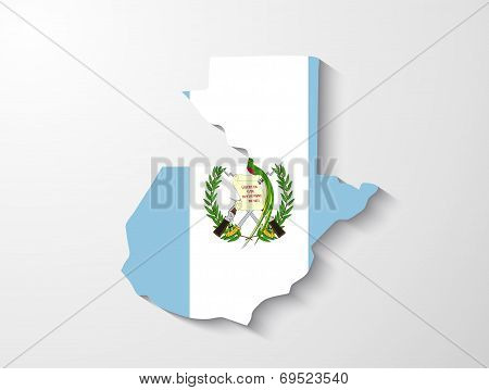 Guatemala  Country Map With Shadow Effect Presentation