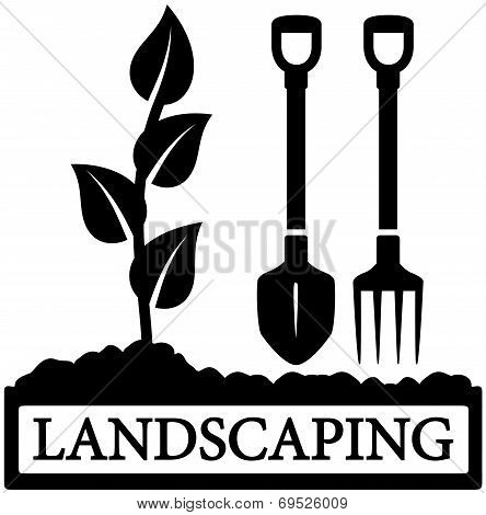 landscaping icon with sprout and gardening tools