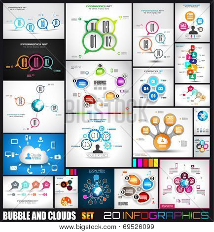 Collection of 20 Infographics with bubbles and clouds. Flat style UI design elements for your business projects, seo diagrams and solution ranking presentazions