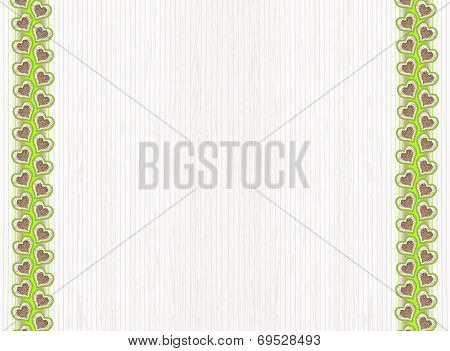 Striped Background With Heart Border On Both Sides