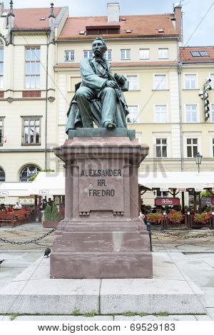 POLAND, WROCLAW - AUGUST 3: Monument comedy-writer Aleksander Fredro made of bronze in year 1897 by sculptor Leonard Marconi on 3 August 2014 in Wroclaw, Poland.