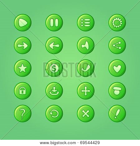 Set Of Mobile Bright Green Vector Elements For Ui Game Design (game Dev Icons)