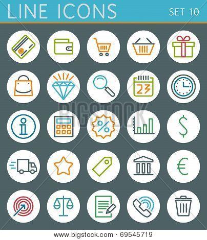 Shopping line icons set. Sale vector web design elements
