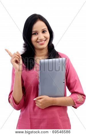 Happy Young Woman With Tablet Computer