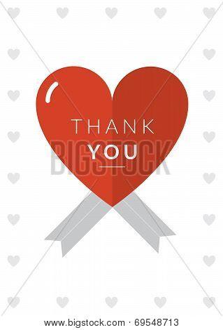 Thank you Card Heart Theme