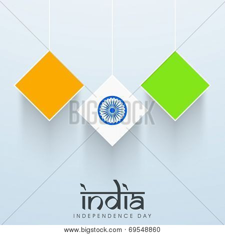 Hanging square stickers in national tricolors with Asoka Wheel on blue background for Indian Independence Day celebrations.