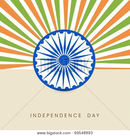Stylish poster, banner or flyer design with Asoka Wheel and national tricolors rays on beige background for 15th of August, Indian Independence Day celebrations.
