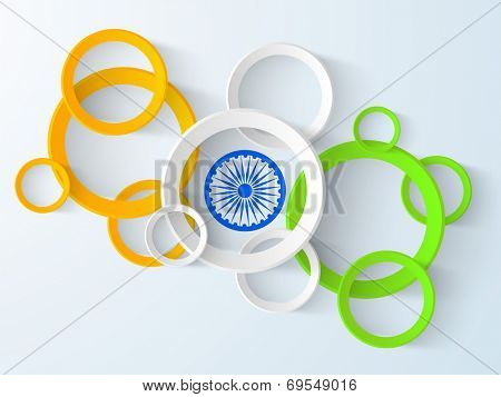 Creative poster, banner or flyer design with national tricolors circles and Asoka Wheel on blue background for 15th of August, Indian Independence Day celebrations,