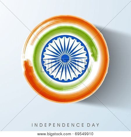 Beautiful circle sticky in national tricolors with Asoka Wheel for 15th of August, Indian Independence Day celebrations.