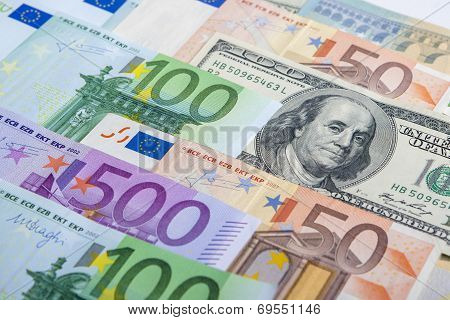 Currency Concept: European And The Us Hard Currencies Together