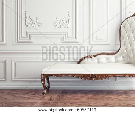 The beautiful vintage sofa next to the wall (retro-style illustration)