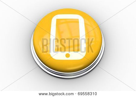 Composite image of tablet pc graphic on yellow push button