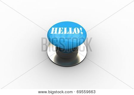The word hello on blue push button on white background poster