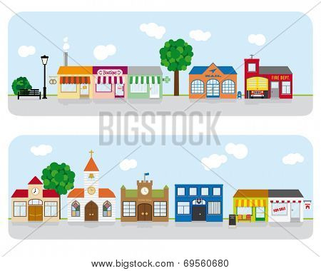 Village Main Street Neighborhood Vector Illustration 2. Vector Illustration of small town main street with shops, church and public buildings. All objects are grouped, text on separate layer.