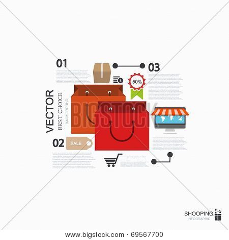 Vector modern shooping infographic background.