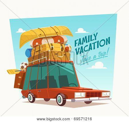Family vacation. Vector illustration.