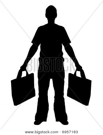 Illustrated Silhouette of a isolated Man Shopping poster