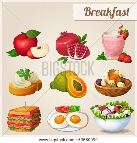 Set of different food icons. Breakfast.  Red apple, pomegranate, glass of strawberry smoothie, sandw