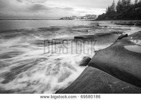 Black and white image of Kings Beach