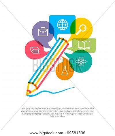 Abstract Pencil With Color Speech Bubbles And Education Icons