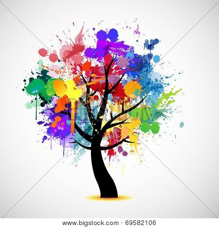 Multi colored paint splat abstract tree illustration