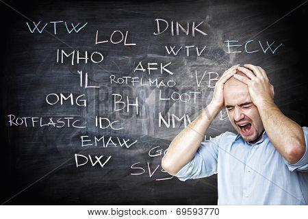 stressed man and internet slang on blackboard poster