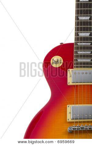 Beautiful sunburst electric guitar isolated on white background