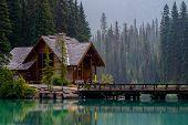 emerald lake lodge reflecting off of emerald lake yoho national park british columbia canada. poster