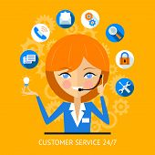 Customer service icon of a pretty smiling call center girl wearing a headset surrounded by various online web icons for payment  wifi  search  security and social media poster