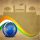 Stylish 3D Asoka Wheel on national flag colors wave on red fort silhouetted grungy brown background for 15th of August, Indian Independence Day celebrations.  poster
