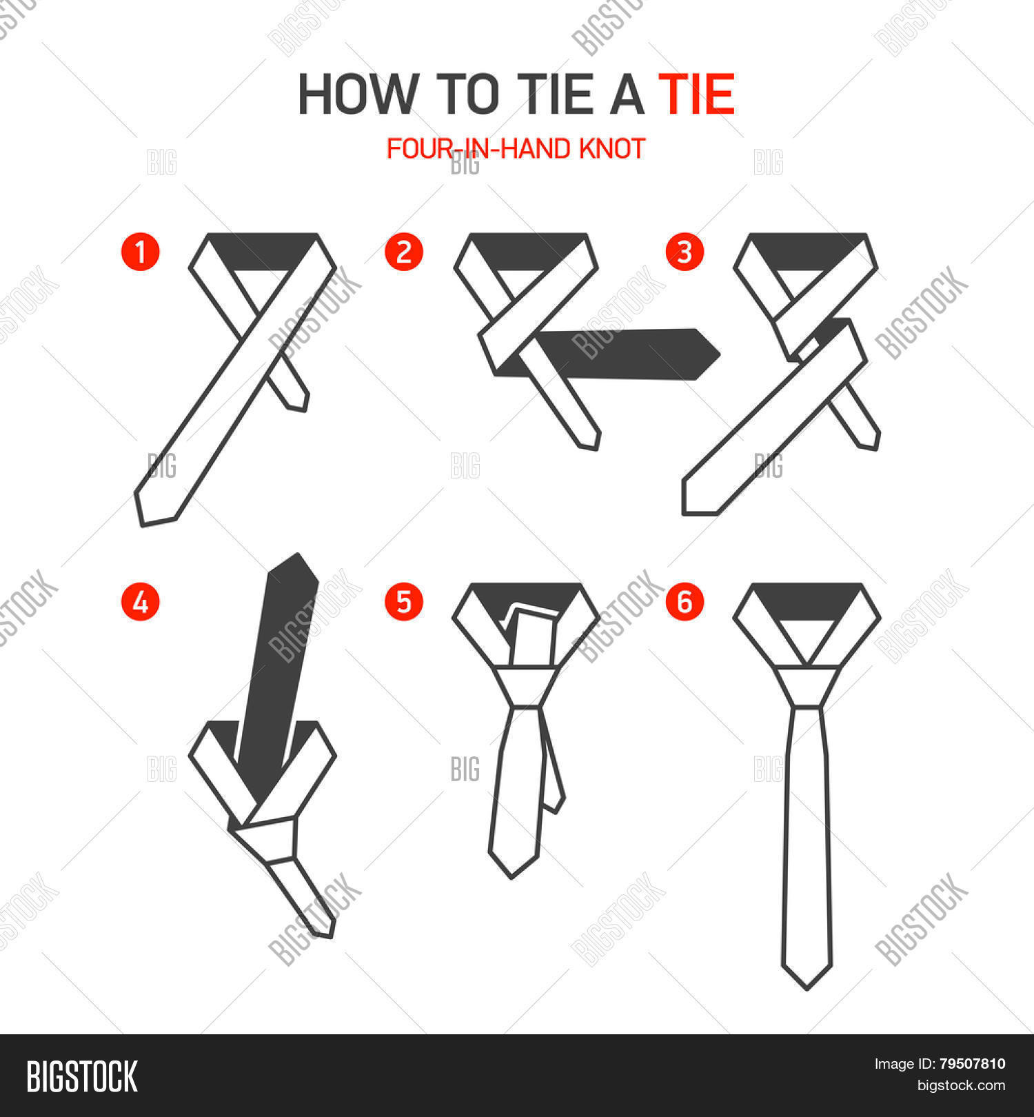How tie tie instructions four vector photo bigstock how to tie a tie instructions four in hand knot vector ccuart Images
