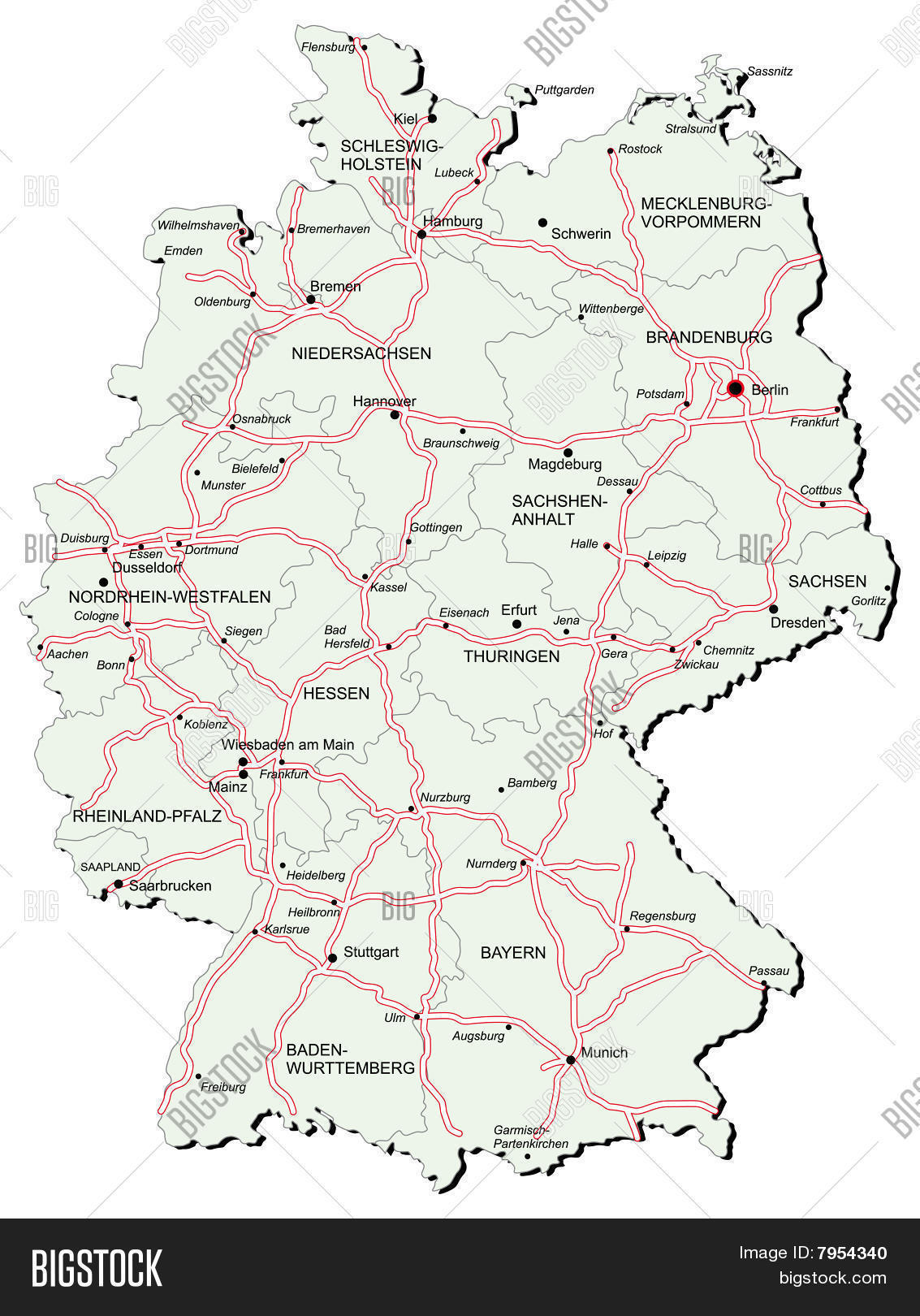 Germany Autobahn Map Vector & Photo (Free Trial)   Bigstock