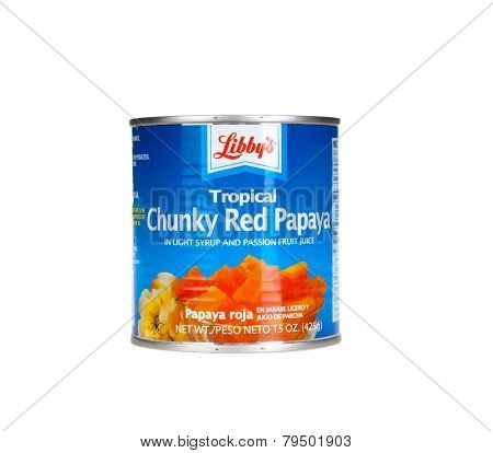 Hayward, CA - January 5, 2015: 15 Oz can of Libby's Tropical Chunky Red Papaya fruit in light syrup and Passion fruit juice;