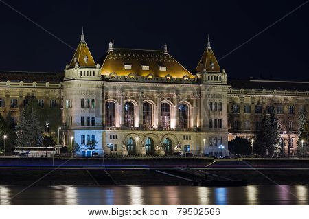 University At Night In Budapest