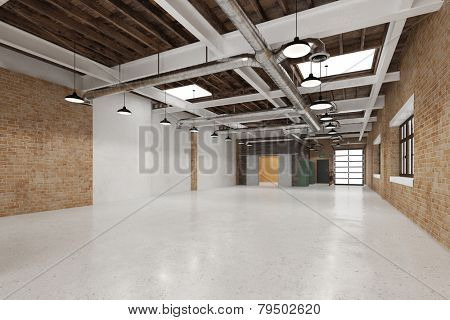 Empty clean big industry warehouse for business use (3D Rendering)
