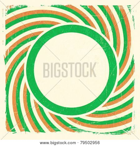 Vintage style aged Irish themed grunge design with spiraling green, off  white and orange rays and center label with space for your text.