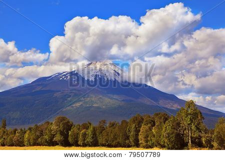 """Famous volcano in South America - Osorno. At the top of the volcano is snow """"cap"""" poster"""