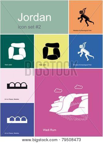 Landmarks of Jordan. Set of color icons in Metro style. Editable vector illustration.
