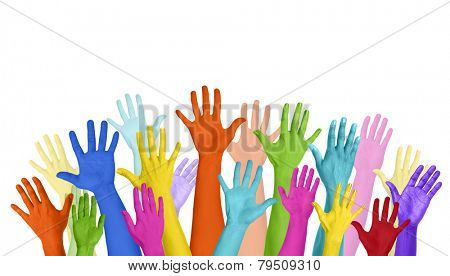 Multicolored Arms Outstretched Copy Space Expressing Positivity Concept