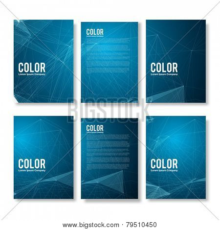 Set of Blue Modern Abstract Flyers  - EPS10 Brochure Design Templates