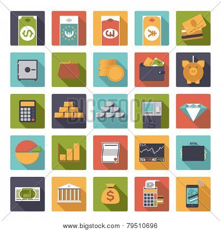 Set of 25 money and finance related vector icons in rounded squares, flat design