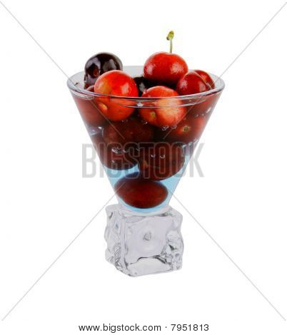 Cherries in Fancy Cocktail Glass