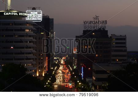hollywood street at dawn with car light trails
