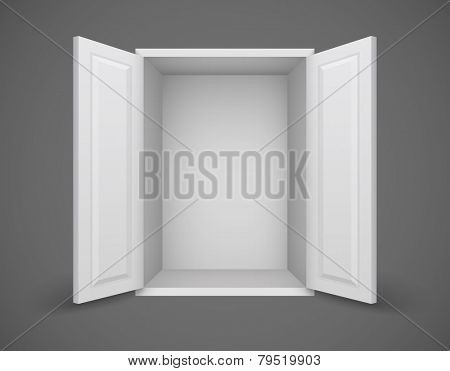 Empty white box with open doors and nothing inside. Eps10 vector illustration